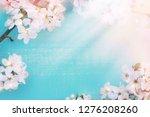spring floral background. fresh ...   Shutterstock . vector #1276208260