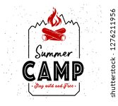 vintage summer camp badges and...   Shutterstock .eps vector #1276211956