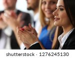 group of people clap their arm... | Shutterstock . vector #1276245130