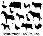 Stock vector vector farm animals silhouettes isolated on white 1276253356