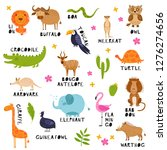 cute african animals  birds and ... | Shutterstock .eps vector #1276274656