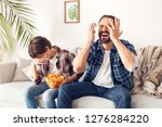 father and little son together... | Shutterstock . vector #1276284220