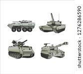 battle tanks army | Shutterstock .eps vector #1276286590