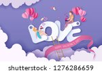 valentines day card with couple ... | Shutterstock .eps vector #1276286659