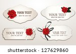 set of elegant cards with red... | Shutterstock .eps vector #127629860