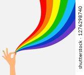hand hold wave rainbow flag... | Shutterstock .eps vector #1276298740