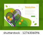 tennis rackets and balls on the ... | Shutterstock .eps vector #1276306096