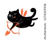funny black cat cupid character ...