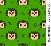 cute kids hedgehog pattern for... | Shutterstock .eps vector #1276334170