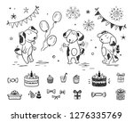 birthday party set with cute...   Shutterstock .eps vector #1276335769