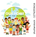 unity of planet earth kids... | Shutterstock .eps vector #1276353616