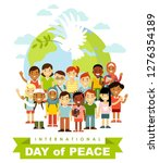 unity of kids and dove of peace ... | Shutterstock .eps vector #1276354189