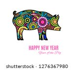 ornamental pig or wild boar a... | Shutterstock .eps vector #1276367980