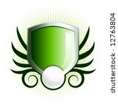 glossy golf shield emblem with... | Shutterstock . vector #12763804