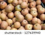 Cooking Apple Background on Market Stall - stock photo