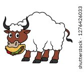 cartoon bull with wool eating... | Shutterstock .eps vector #1276426033