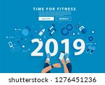 2019 new year fitness concept... | Shutterstock .eps vector #1276451236
