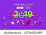 fitness 2019 new year concept... | Shutterstock .eps vector #1276452490
