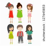 set of cute kids | Shutterstock .eps vector #127645853