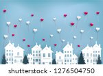 love balloons fly over the city.... | Shutterstock .eps vector #1276504750