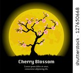 cherry blossom tree in front of ... | Shutterstock .eps vector #127650668