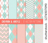 Pastel Mint And Coral Argyle...