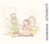 grandparents and kid eating jam ... | Shutterstock .eps vector #1276556179
