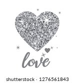 Shiny Silver Glitter Heart With ...