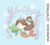 mermaid princess on the seabed  ... | Shutterstock .eps vector #1276570426