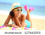 Beach Woman Funky Happy And...