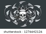 skull in crown on a razor... | Shutterstock . vector #1276642126