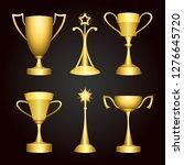 six golden winner trophy cups ... | Shutterstock . vector #1276645720