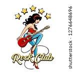 rock club retro poster design... | Shutterstock . vector #1276648696