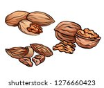 set of colored cartoon nuts.... | Shutterstock .eps vector #1276660423