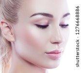 pretty girl close up portrat ... | Shutterstock . vector #1276668886