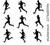 set of silhouettes. runners on... | Shutterstock .eps vector #1276685596