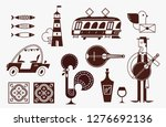 portugal vector icon set simple ... | Shutterstock .eps vector #1276692136