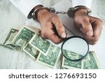 man hand handcuffs with ... | Shutterstock . vector #1276693150