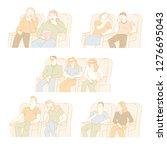 people watching films in movie...   Shutterstock .eps vector #1276695043