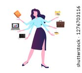 a modern woman with six arms... | Shutterstock .eps vector #1276703116