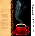 background with cup of coffee... | Shutterstock .eps vector #127670786
