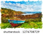 watercolour painting of loch... | Shutterstock . vector #1276708729