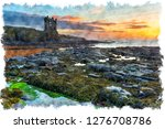 watercolour painting of sunrise ... | Shutterstock . vector #1276708786