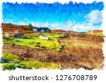 watercolour painting of a... | Shutterstock . vector #1276708789