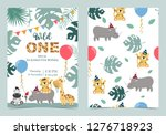 green birthday card with rhino... | Shutterstock .eps vector #1276718923