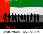 silhouette of soccer team with... | Shutterstock .eps vector #1276723276