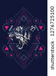 wild tiger sacred geometry | Shutterstock .eps vector #1276725100