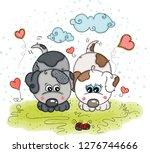 illustration with loving dogs | Shutterstock .eps vector #1276744666