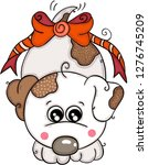 cute white dog with red bow... | Shutterstock .eps vector #1276745209