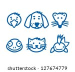Stock vector outlined animal pets icon set vector illustration 127674779